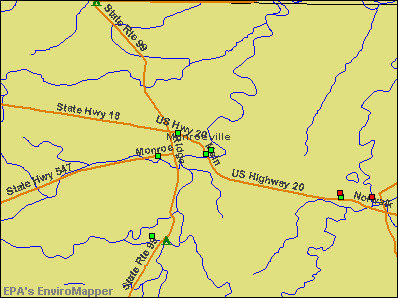 Monroeville, Ohio environmental map by EPA