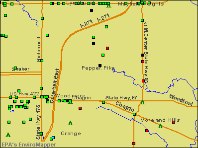 Pepper Pike, Ohio environmental map by EPA