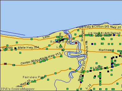 Rocky River, Ohio environmental map by EPA