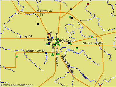 Upper Sandusky, Ohio environmental map by EPA