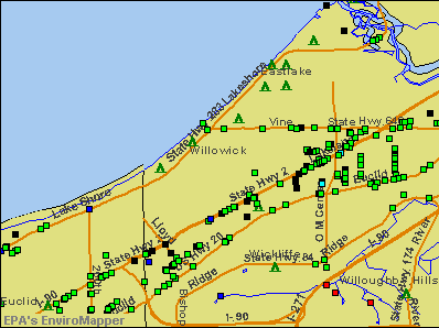 Willowick, Ohio environmental map by EPA