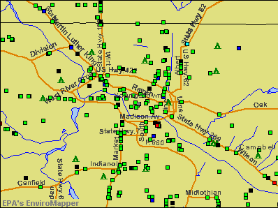 Youngstown, Ohio environmental map by EPA
