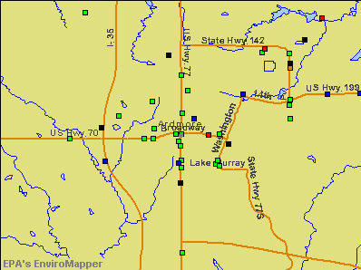 Ardmore, Oklahoma environmental map by EPA