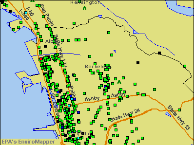 Berkeley, California environmental map by EPA