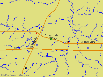 Checotah, Oklahoma environmental map by EPA
