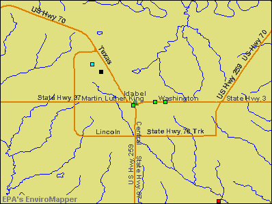 Idabel, Oklahoma environmental map by EPA
