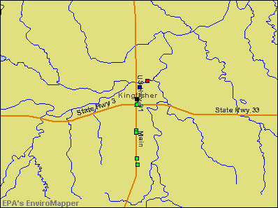 Kingfisher, Oklahoma environmental map by EPA