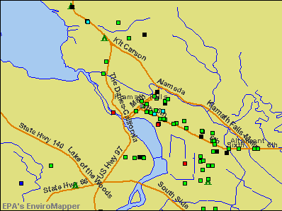 Klamath Falls, Oregon environmental map by EPA