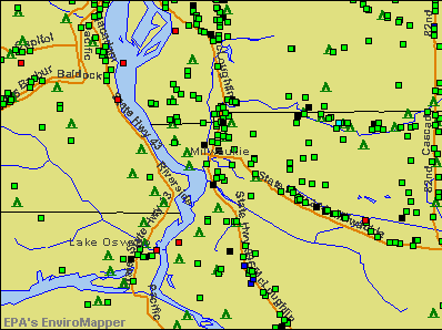 Milwaukie, Oregon environmental map by EPA