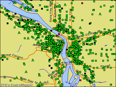 Portland, Oregon environmental map by EPA