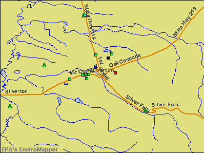 Silverton, Oregon environmental map by EPA