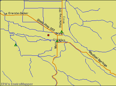 Union, Oregon environmental map by EPA