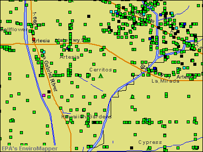 Cerritos, California environmental map by EPA