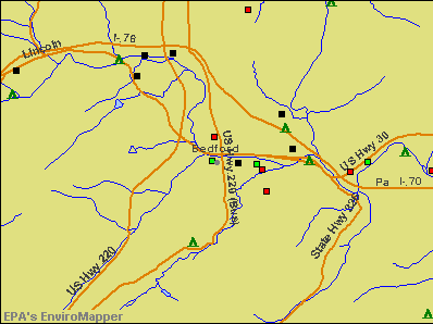 Bedford, Pennsylvania environmental map by EPA