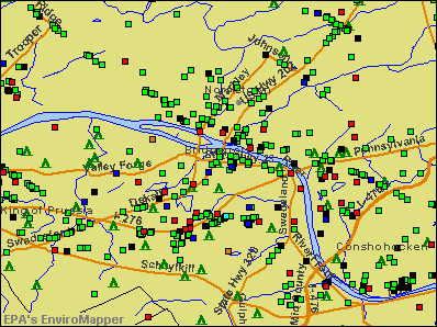 Bridgeport, Pennsylvania environmental map by EPA