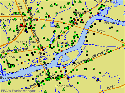 Bristol, Pennsylvania environmental map by EPA