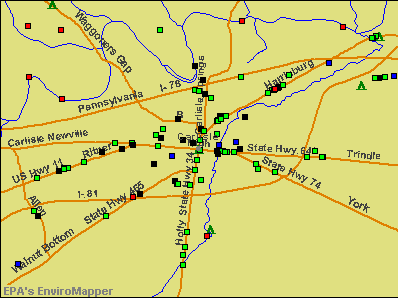 Carlisle, Pennsylvania environmental map by EPA