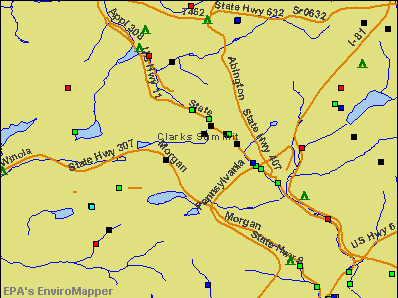 Clarks Summit, Pennsylvania environmental map by EPA