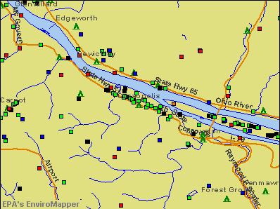 Coraopolis, Pennsylvania environmental map by EPA