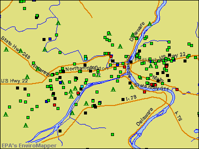 Easton, Pennsylvania environmental map by EPA