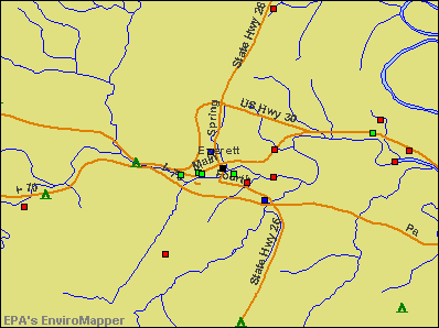 Everett, Pennsylvania environmental map by EPA