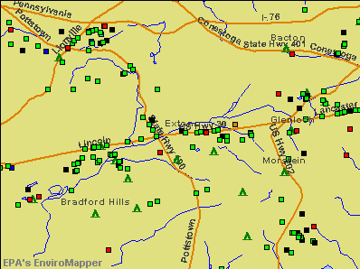 Exton, Pennsylvania environmental map by EPA