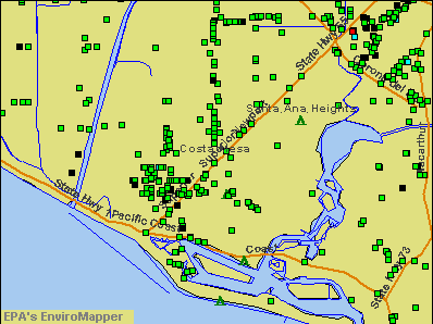 Costa Mesa, California environmental map by EPA