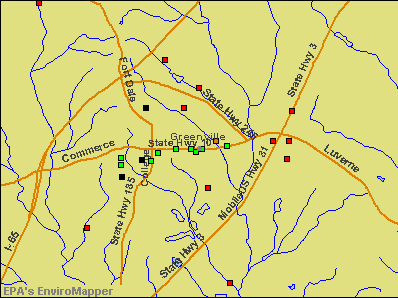 Greenville, Alabama environmental map by EPA