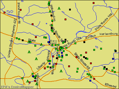 New Castle, Pennsylvania environmental map by EPA