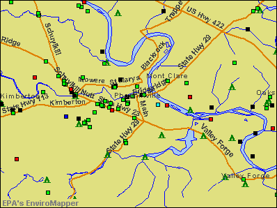 Phoenixville, Pennsylvania environmental map by EPA