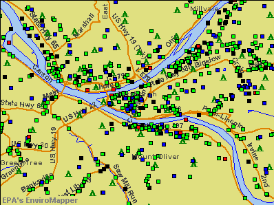 Pittsburgh, Pennsylvania environmental map by EPA