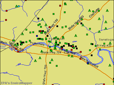 Pottstown, Pennsylvania environmental map by EPA