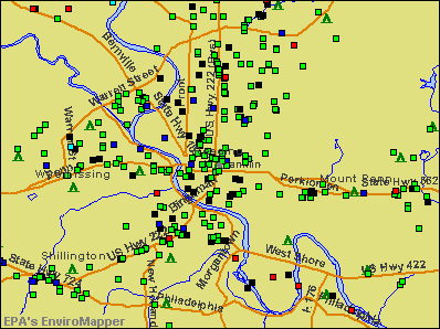 Reading, Pennsylvania environmental map by EPA