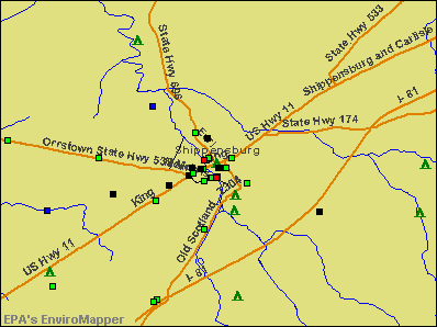 Shippensburg, Pennsylvania environmental map by EPA