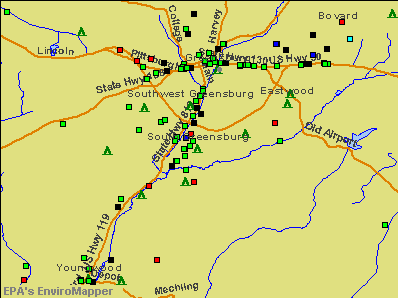 South Greensburg, Pennsylvania environmental map by EPA