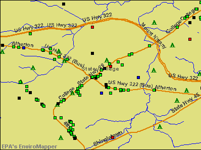 State College, Pennsylvania environmental map by EPA