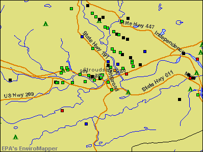 Stroudsburg, Pennsylvania environmental map by EPA