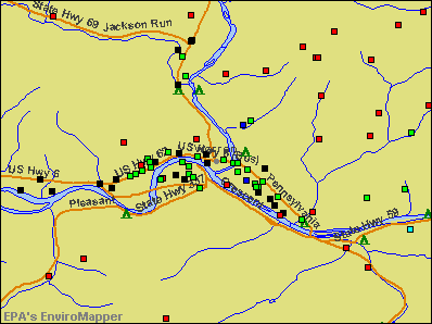 Warren, Pennsylvania environmental map by EPA