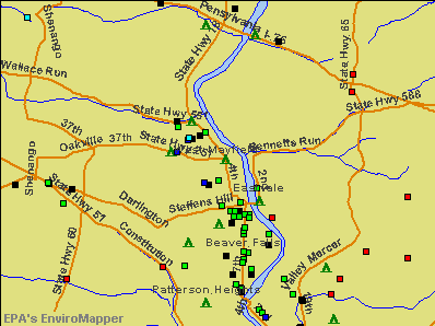 West Mayfield, Pennsylvania environmental map by EPA