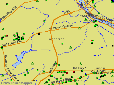 Woodside, Pennsylvania environmental map by EPA