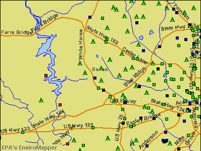 Berea, South Carolina environmental map by EPA