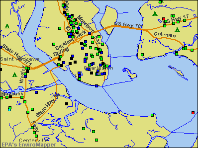 Charleston, South Carolina environmental map by EPA
