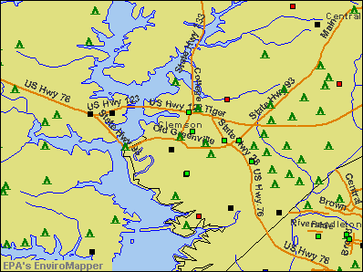Clemson, South Carolina environmental map by EPA