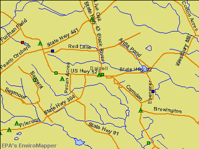 Dalzell, South Carolina environmental map by EPA