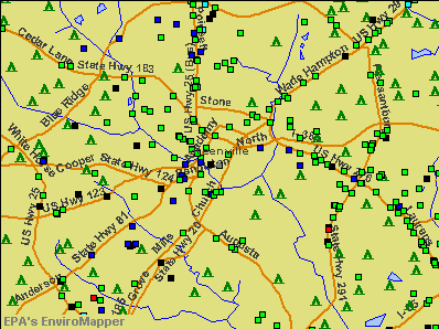 Greenville, South Carolina environmental map by EPA