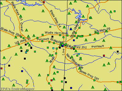 Greer, South Carolina environmental map by EPA