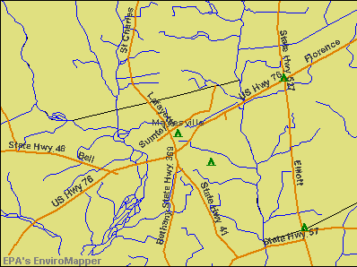 Mayesville, South Carolina environmental map by EPA