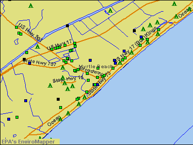 Myrtle Beach, South Carolina environmental map by EPA