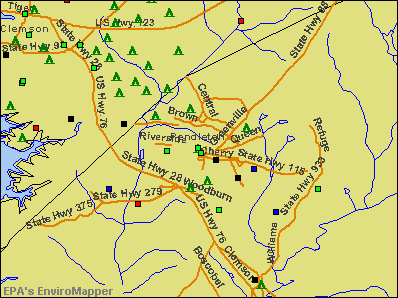 Pendleton, South Carolina environmental map by EPA