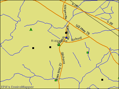 Ridgeville, South Carolina environmental map by EPA